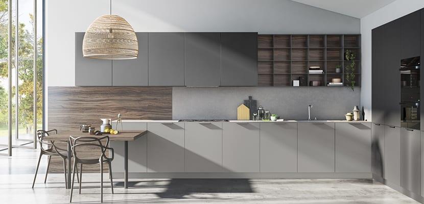 Cocina de diseño gris