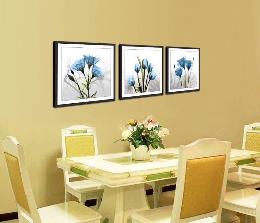 estampado floral cuadros