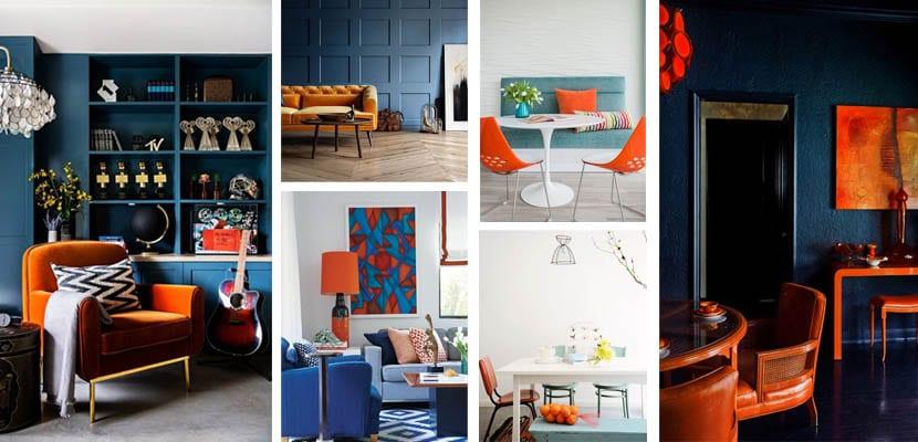 Decoración en azul y naranja