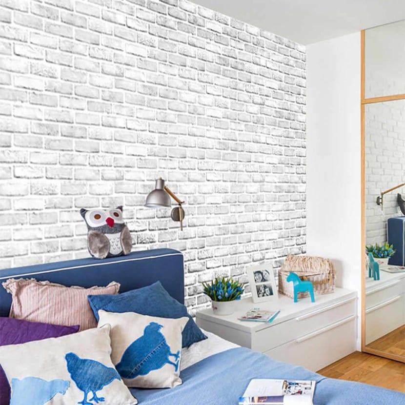 pared de ladrillos dormitorio