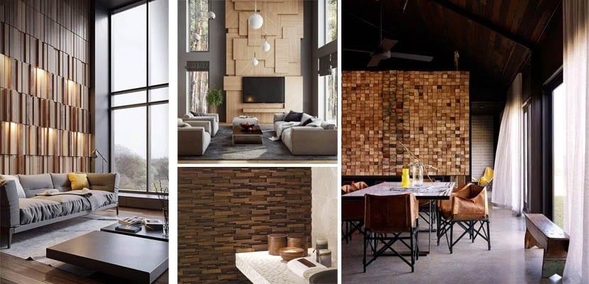 Mosaico de madera en pared