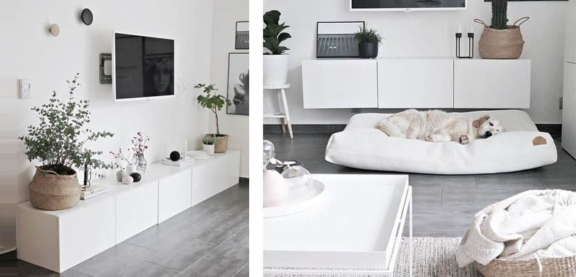 Muebles bajos blancos para la televisión
