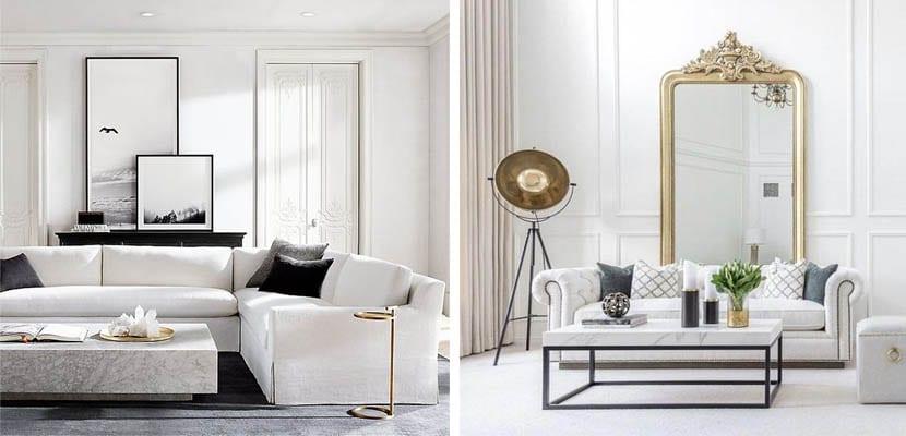 Sofá y mesa de mármol blanco