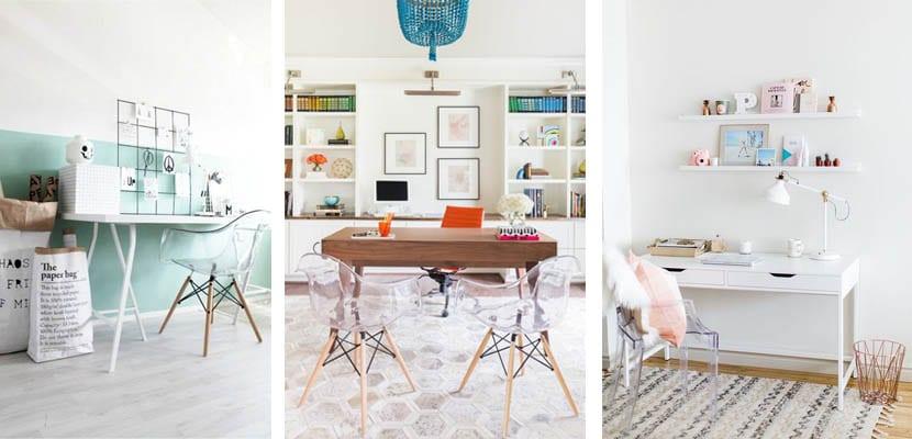 Zonas de trabajo con sillas transparentes