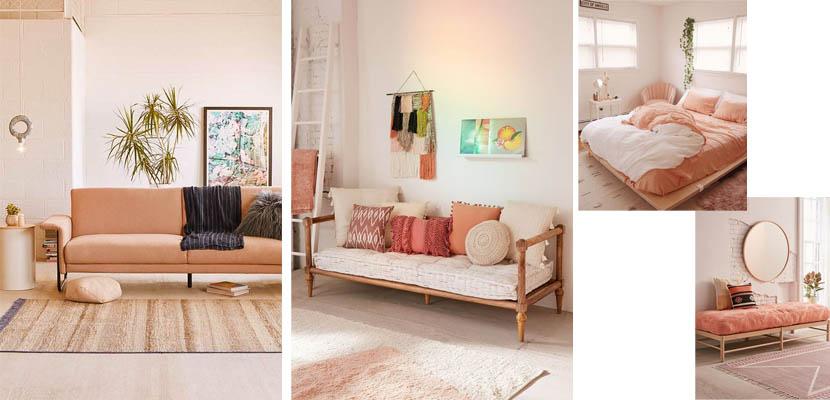 Muebles y textiles salmón