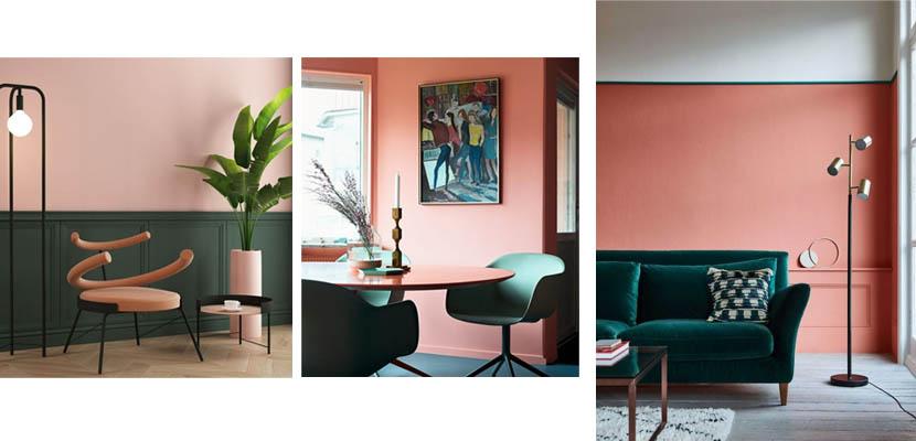 Interiores en tonos salmón y verde