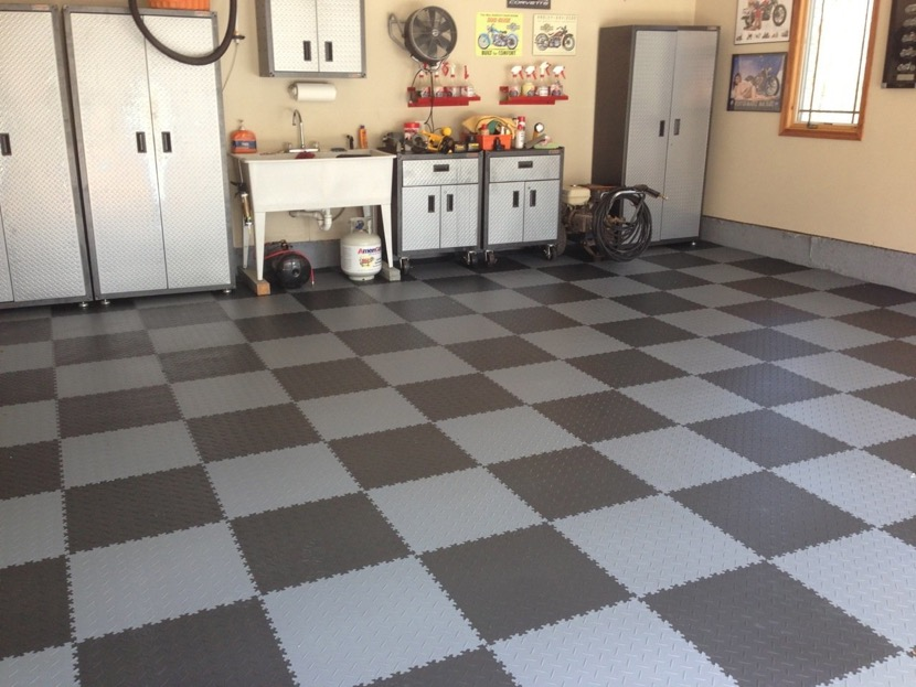 suelo de garaje dos colores