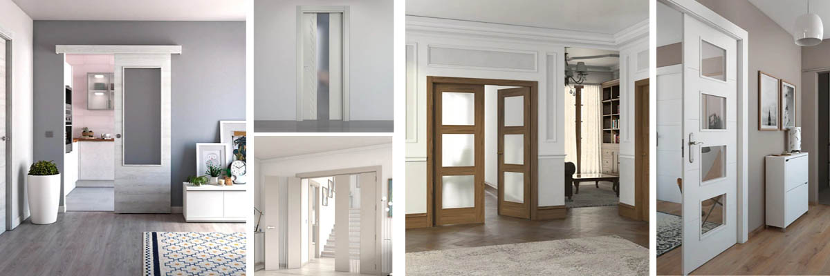 Puertas de madera con vidriera