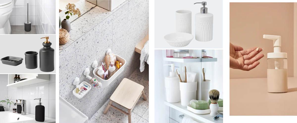 Accesorios de baño de Ikea en blanco y negro