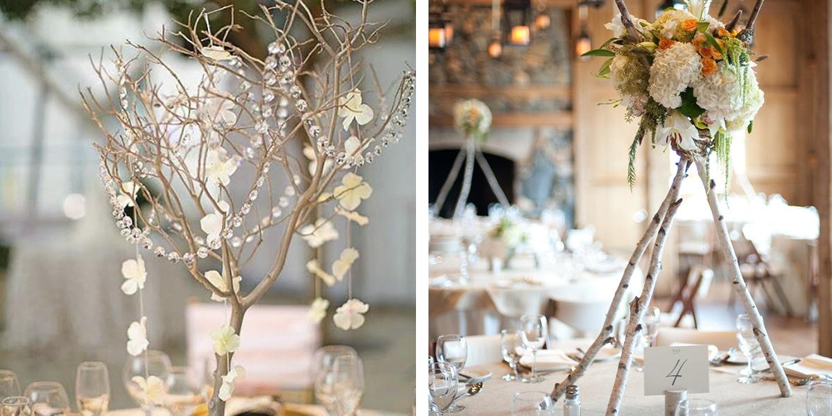 Centros de mesa con ramas