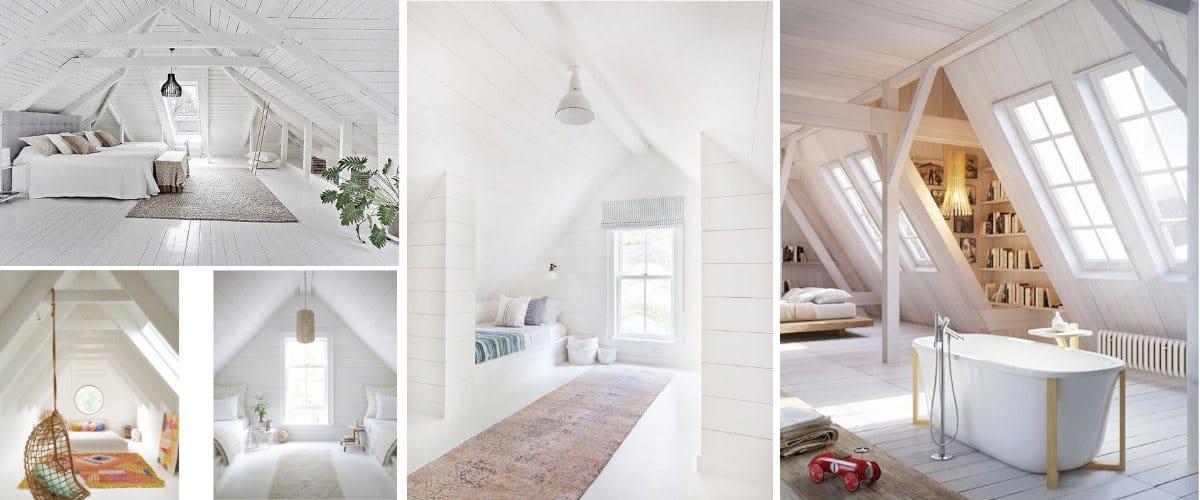 Buhardillas de madera de color blanco