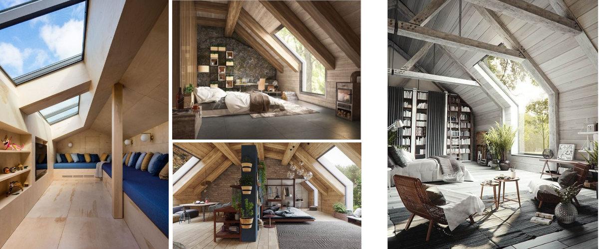 Dormitorios modernos en el ático