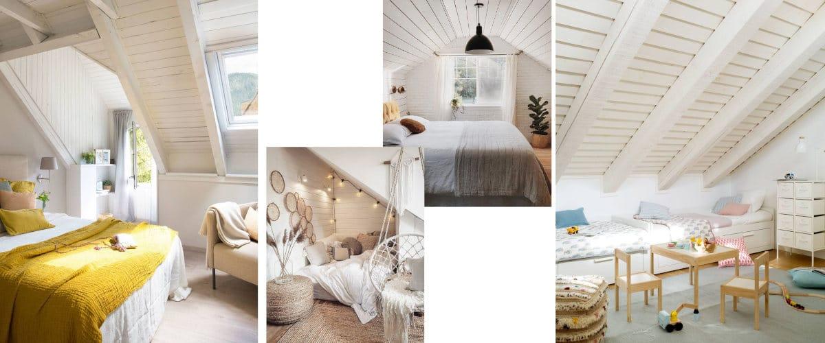 Áticos con paredes blancas y suelos naturales