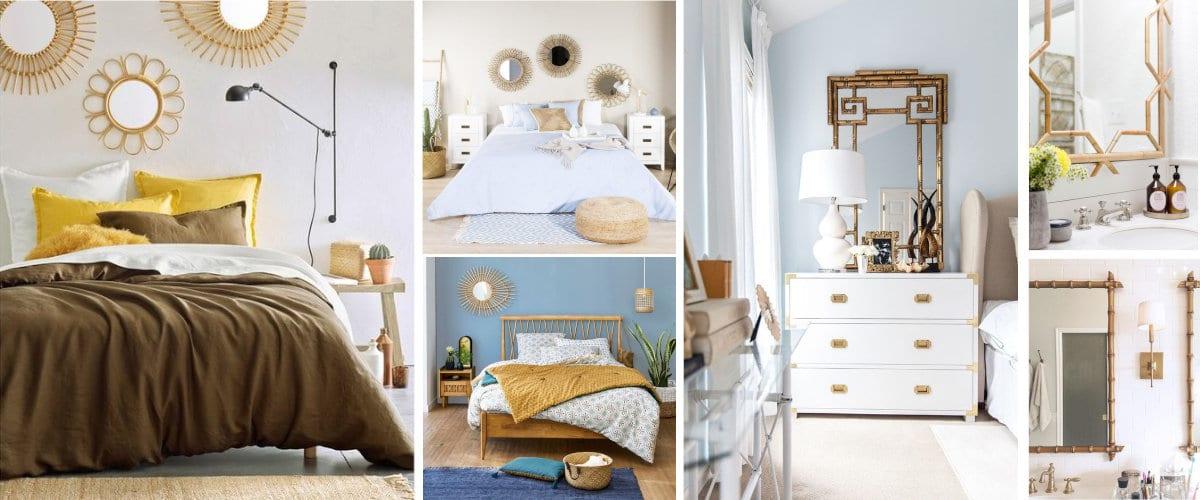 Dormitorios y baños con espejos de bambú