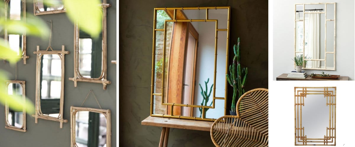 Espejo rectangular con marco de bambú