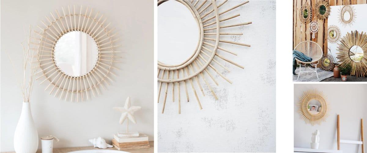 Espejo sol bambú