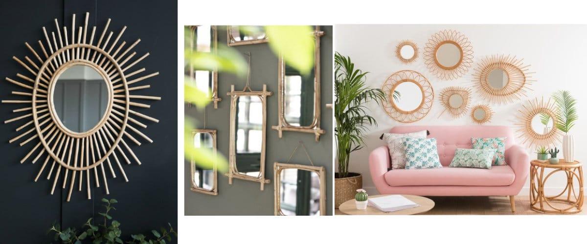 Espejos de bambú, una tendencia para decorar las paredes