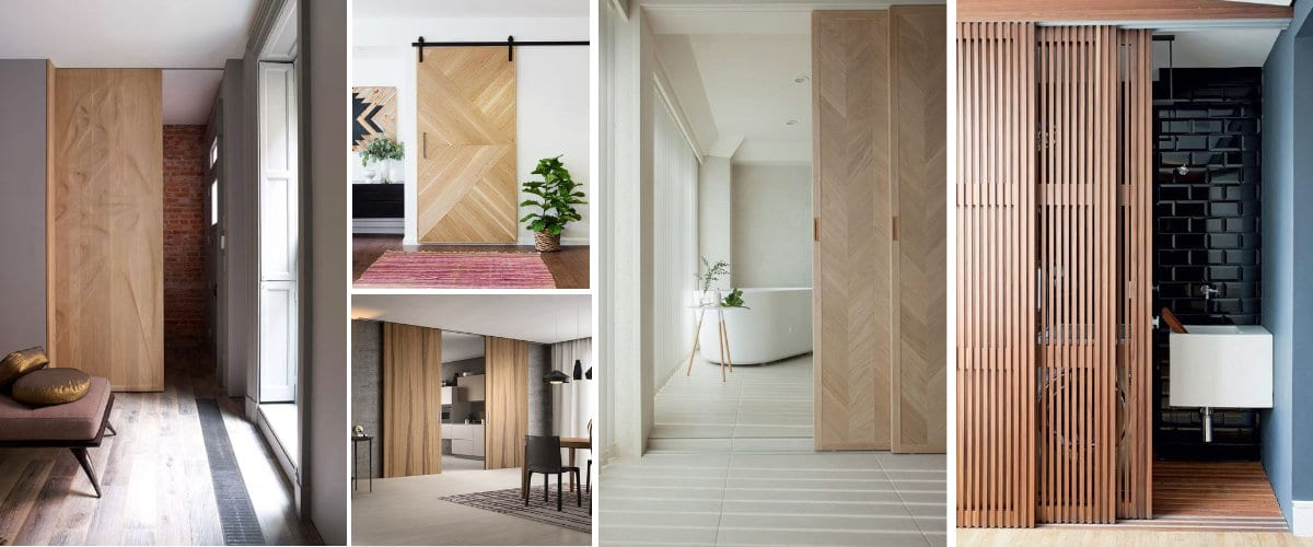 Puerta corredera de madera moderna