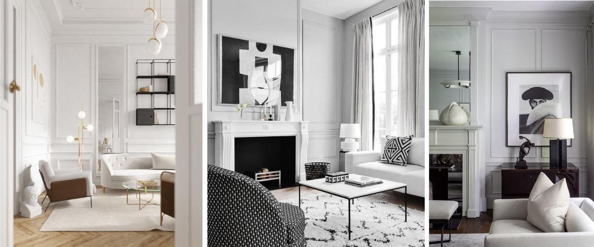 Salones de estilo clásico con paredes blancas