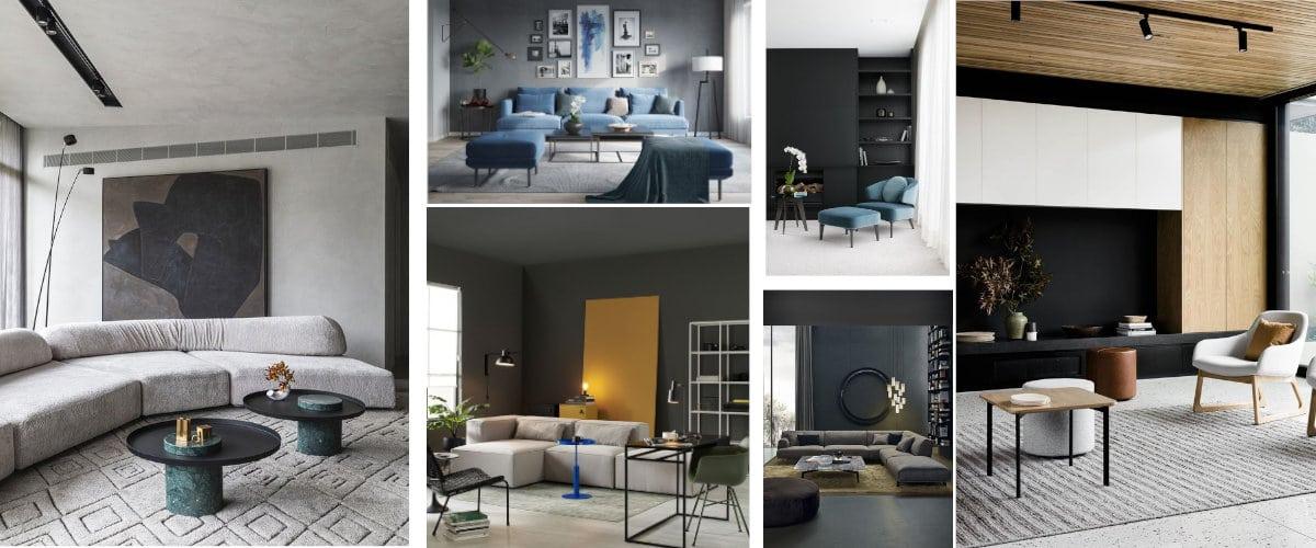 Salones modernos con paredes grises