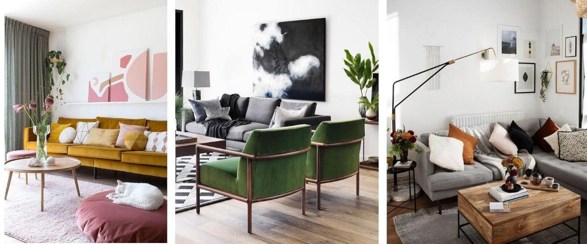 Composiciones de cuadros sobre el sofá