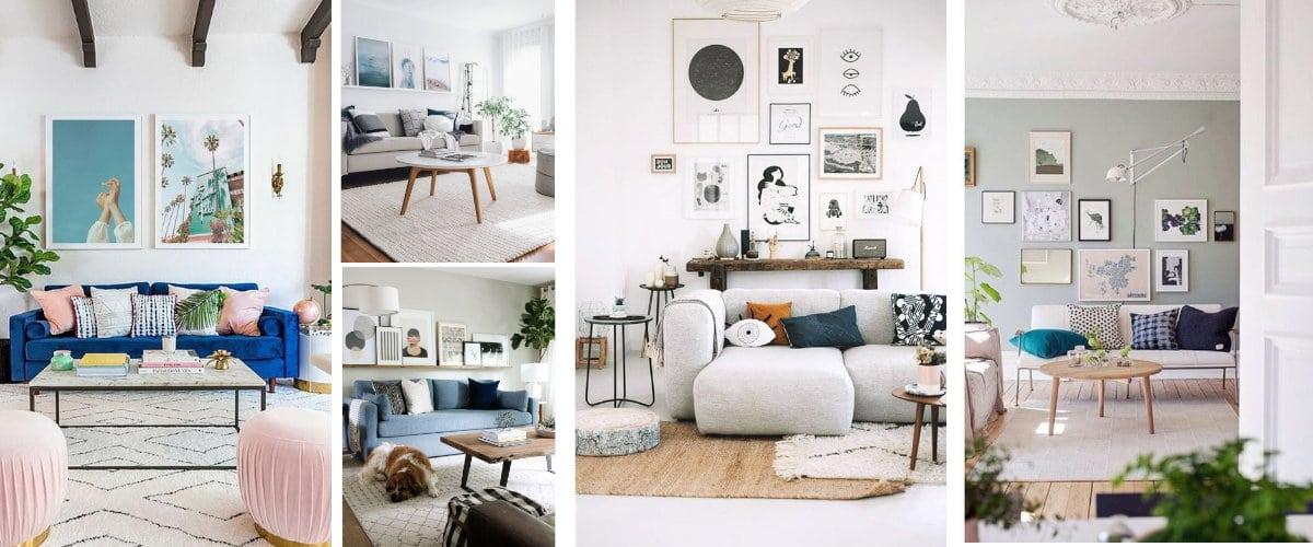Coloca cuadros encima del sofá para hacer mas atractiva esa pared