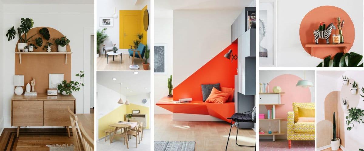 Pinta gormas geométricas en la pared para destacar un rincón o mueble