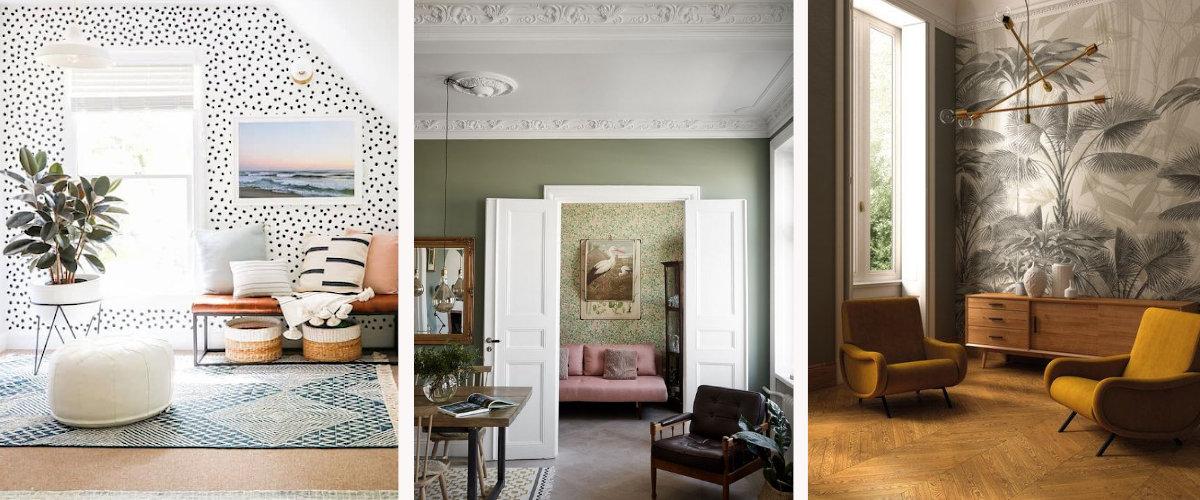 Ideas para decorar el salón con papel pintado y pintura