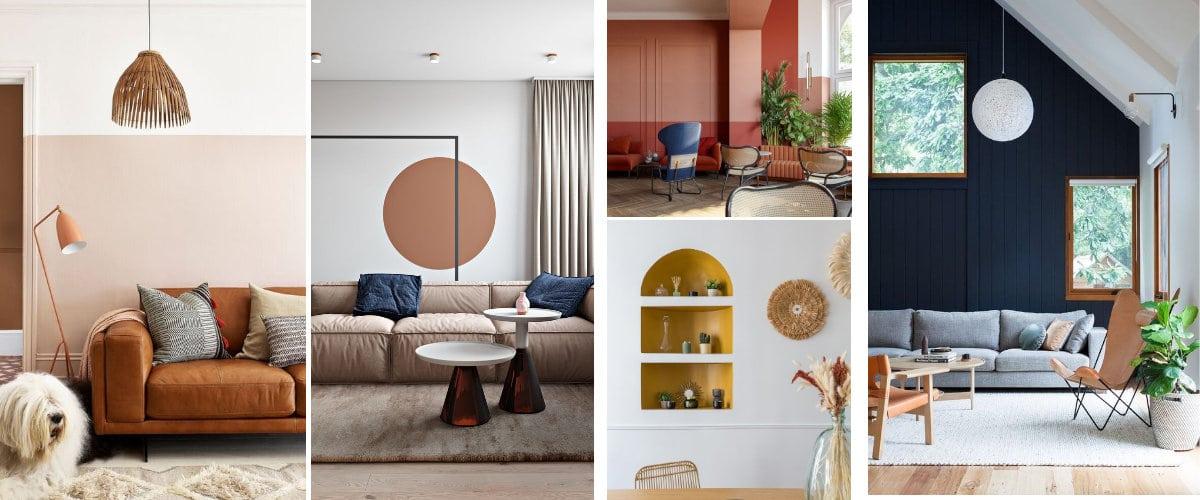 Pinta las paredes del salón a dos colores