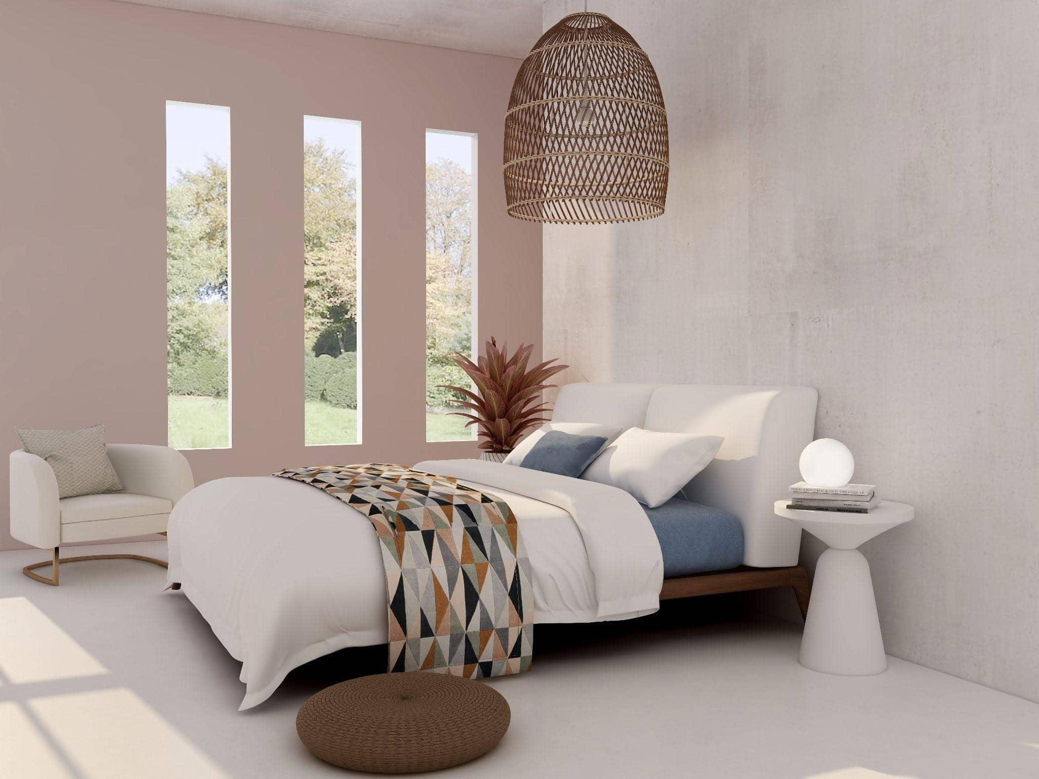 dormitorio con cama acogedora
