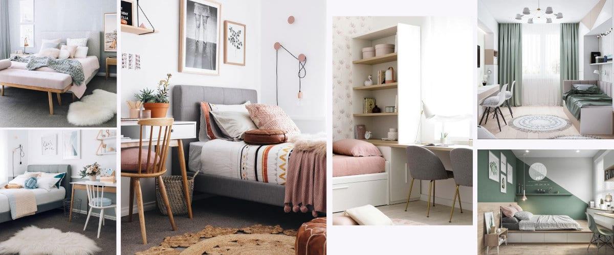 Decoración de una habitación juvenil con matices rosas y verdes