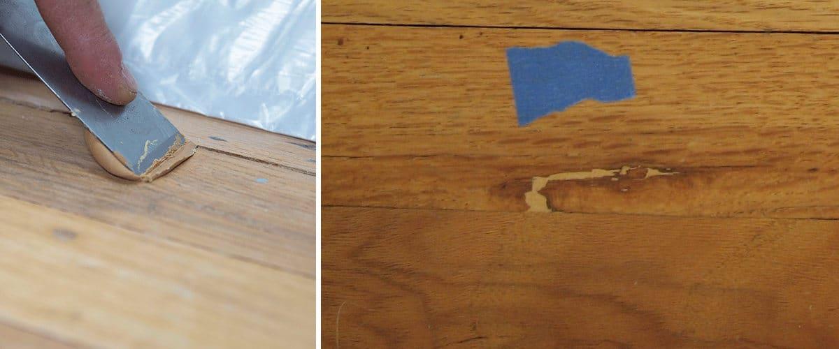 Reparación del parquet con masilla