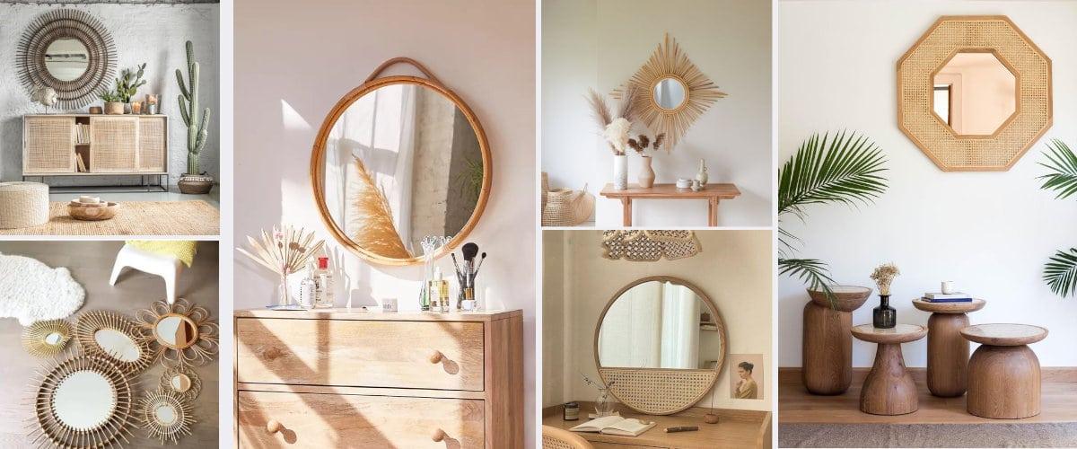 Espejos de madera, bambú o fibras vegetales